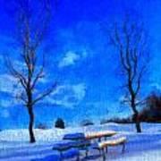Winter Day On Canvas Art Print