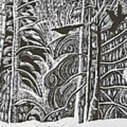 Winter Etching Art Print by Grace Keown