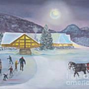 Winter Evening At Evergreen Lakehouse Art Print