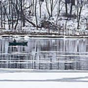 Winter Fishing - Wisconsin River Art Print