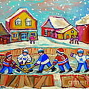Winter Fun At Hockey Rink Magical Montreal Memories Rink Hockey Our National Pastime Falling Snow   Art Print