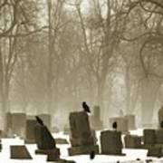 Winter Graveyard Crows Art Print