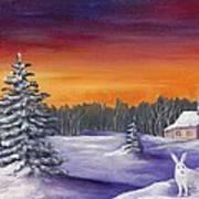 Winter Hare Visit Art Print