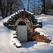 Winter Hobbit Hole Art Print