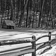 Winter Hut In Black And White Art Print