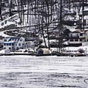 Winter Ice Lake Scene Hopatcong Covered Port Art Print