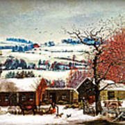 Winter In The Country Folk Art Art Print