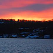 Winter Lake Sunset Art Print