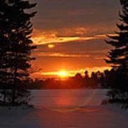 Winter Lake Sunset Art Print by RJ Martens