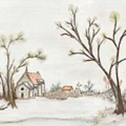 Winter Landscape With Cottage II Art Print by Christine Corretti