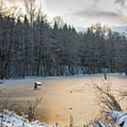 Winter Landscape With Frozen Lake And Warm Evening Twilight Art Print