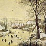 Winter Landscape With Skaters And A Bird Trap Art Print