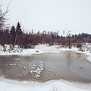 Winter Landscape With Trees And Frozen Pond Art Print by Matthias Hauser