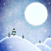 Winter Moon Over Snowy Landscape Art Print