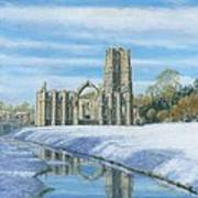 Winter Morning Fountains Abbey Yorkshire Art Print by Richard Harpum