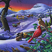 Winter Mountain Landscape - Cardinals On Holly Bush - Small Town - Sleigh Ride - Square Format Art Print