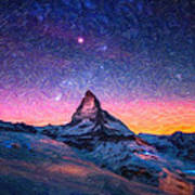 Winter Night High Peak Art Print