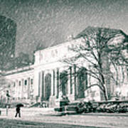 Winter Night In New York City - Snow Falls Onto 5th Avenue Art Print