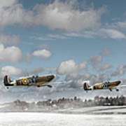 Winter Ops Spitfires Art Print