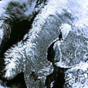 Winter Scandinavia Satellite Map Art Print