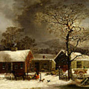 Winter Scene In New Haven Connecticut 1858 By Durrie Art Print by Movie Poster Prints