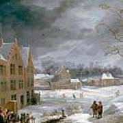 Winter Scene With A Man Killing A Pig Art Print