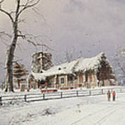 Winter Scene With Figures On A Path Near A Church Art Print