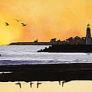 Winter Silhouette Santa Cruz Print by Kerry Van Stockum