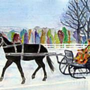 Winter Sleigh Ride Art Print