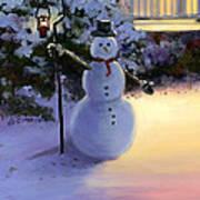 Winter Snow Man Art Print by Cecilia Brendel