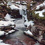 Winter Still Has Its Icy Grip On Adams Falls Art Print