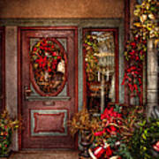 Winter - Store - Metuchen Nj - Dressed For The Holidays Art Print by Mike Savad