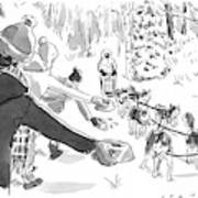 Winter Suited Volunteers Hold Out Dog Dishes Art Print