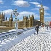 Winter Sun - Houses Of Parliament London Art Print