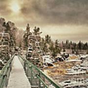 Winter Sunrise Over A Swinging Bridge Art Print