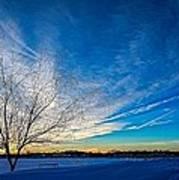 Winter Sunset At Diamond Lake Art Print