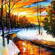 Winter Sunset - Palette Knife Oil Painting On Canvas By Leonid Afremov Art Print