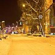 Winter Time Street Scene In Krizevci Art Print