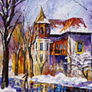Winter Town - Palette Knife Oil Painting On Canvas By Leonid Afremov Art Print