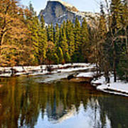 Winter View Of Half Dome In Yosemite National Park. Art Print by Jamie Pham