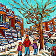 Winter Walk Montreal Paintings Snowy Day In Verdun Montreal Art Carole Spandau Art Print