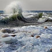 Winter Waves At Whitefish Dunes Art Print