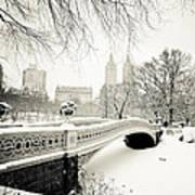 Winter's Touch - Bow Bridge - Central Park - New York City Art Print