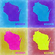 Wisconsin Pop Art Map 3 Art Print