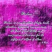 Wisdom Enhanced Violet Art Print