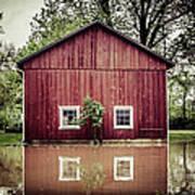 Wise Old Barn Flood Art Print