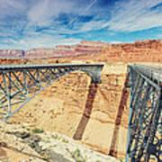 Wispy Clouds Over Navajo Bridge North Rim Grand Canyon Colorado River Art Print