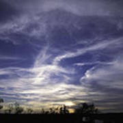 Wispy White Clouds Against Deep Blue Sky At Sunset In Central Te Art Print