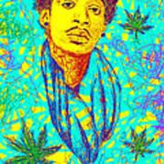 Wiz Khalifa Drawing In Line Art Print by Kenal Louis