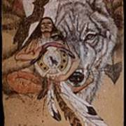 Wolf And Shaman  Art Print